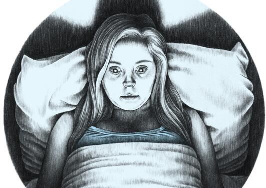 Illustration of young woman having trouble sleeping after excessive use of electronic gadgets, illustration originally in the UiB Magazine 2014.