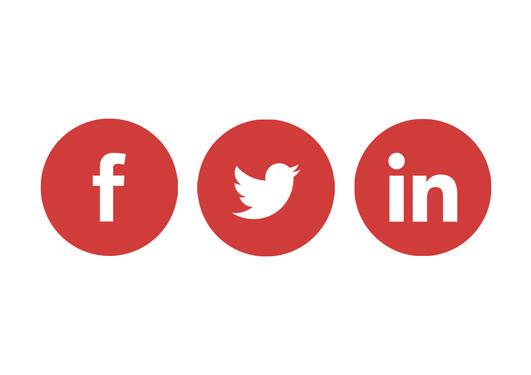 Illustrasjon som viser Facebook, Twitter og LinkedIn