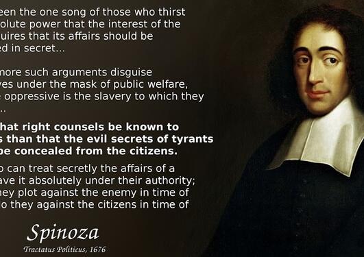 Bilde av Spinoza med langt sitat viktigheten av åpenhet i maktens korridorer.