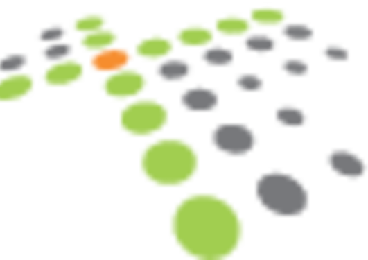 Logo med grønne og grå prikker