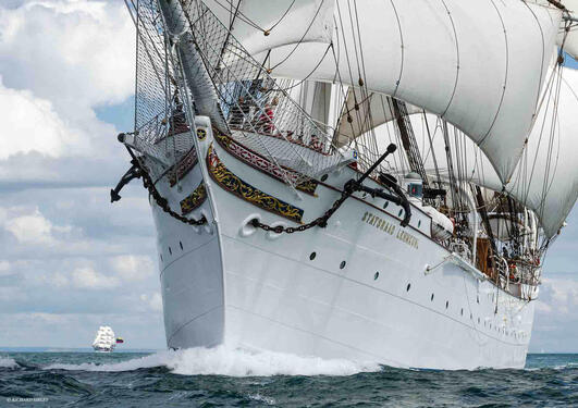 Tall ship Statsraad Lehmkuhl from Bergen in Norway out sailing the seven seas.