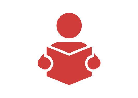 Illustrasjon ikon student leser bok
