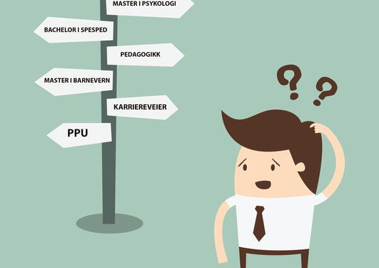 Skilt med ulike veilvalg for videre studier