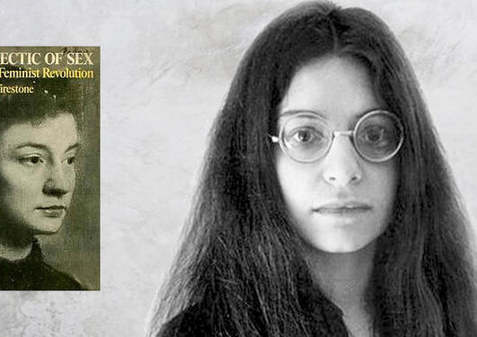 An image composed of the book cover of The Dialectics of Sex and an picture of Firestone