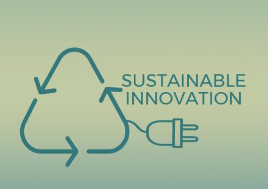 Gjennvinningstegn og stikkkontakt med teksten: Sustainable innovation