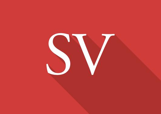 Fakultetslogo for SV-fakultetet. Det står SV i hvit skrift på rød bakgrunn.
