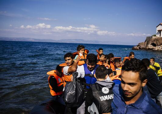 In October 2015, image of migrants on a boat are landing on the Greek island of Lesbos.