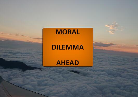 """Tatt fra et fly over skyene med solnedgang i bakgrunnen der en kan skimte ene flyvingen og med et skilt hvor det står """"MORAL DILEMMA AHEAD""""  i front."""