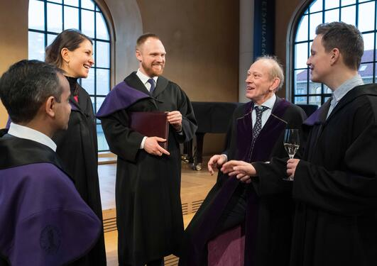 Smiling candidated after the doctoral promotion