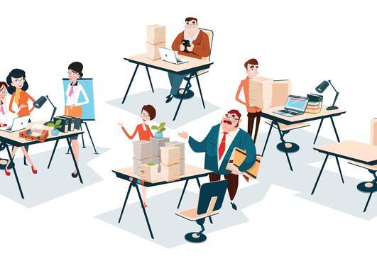 Tegning av mennesker på kontor