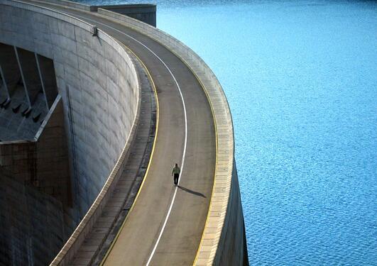 Terje Tvedt walking on the Katse Dam