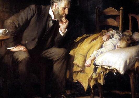 Mannlig lege våker over sovende barn