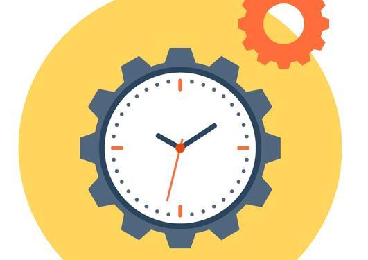 illustrasjon med en klokke og et tannhjul