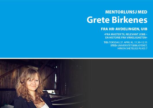 Mentorlunsj, Grete Birkenes, UiB Alumni