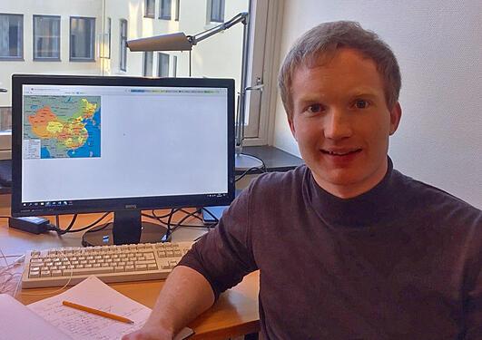 Hans Herman på kontoret