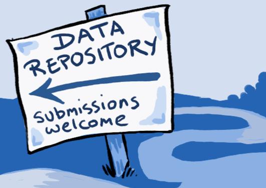 Teikning av eit skilt som viser vegen til eit dataarkiv og seier at innleveringar er velkomne