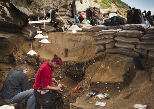 Excavation in the Blombos Cave, South Africa