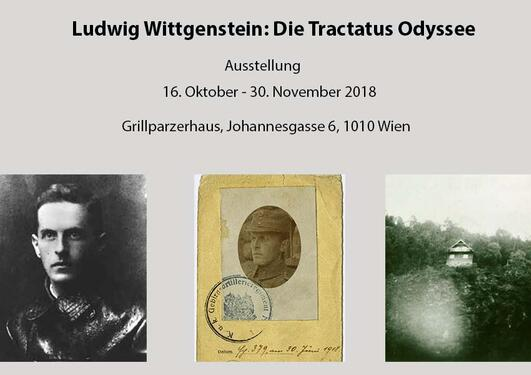 Information about the exhibition with two pictures of Wittgenstein and one of his cottage in Skjolden