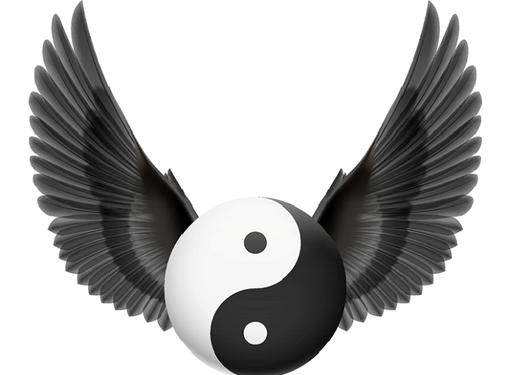 Tradisjonelt yin-yang symbok med mørkegrå vinger