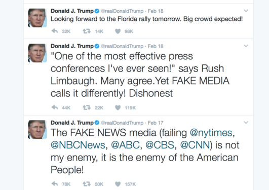 A screenshot of three of Trump's tweets from February 2017.
