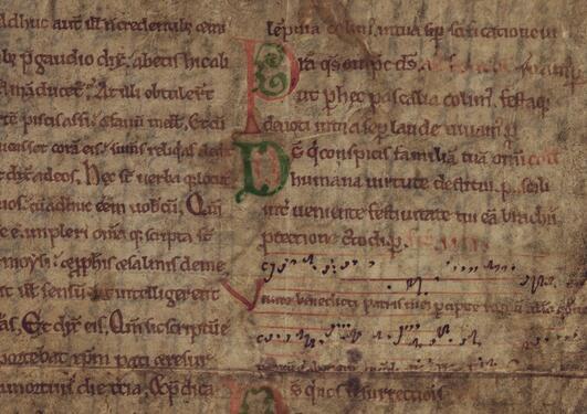 Utsnitt av ubb-ms-1550-5, et latinsk dokument skrevet på pergament.
