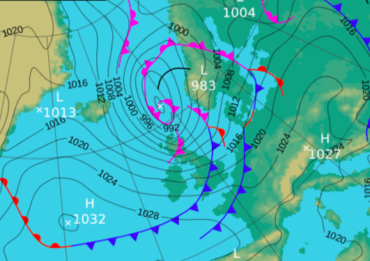 Synoptic map of surface pressure and fronts from UK Met Office from 8 August 2016.