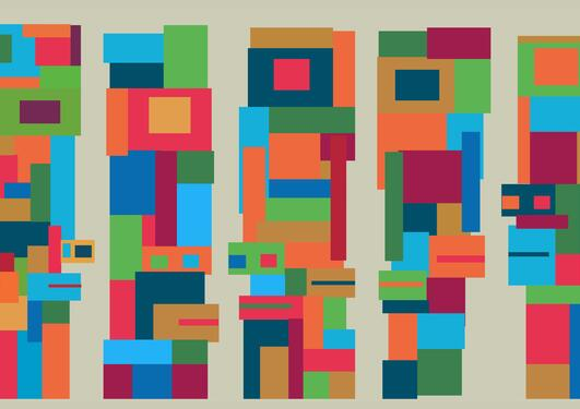 Multicoloured figures making up five columns