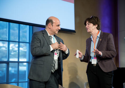 Katherine Richardson of University of Copenhagen and UN DESA's Shantanu Mukherjee discuss science and policy at the 2019 SDG Conference Bergen.