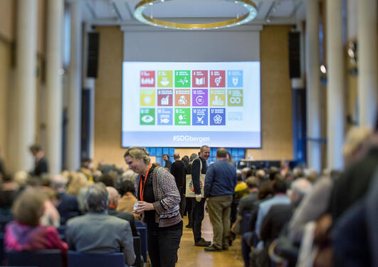 Overview photo from the 2018 SDG Conference Bergen in the University Aula of Bergen, 8 and 9 February 2018