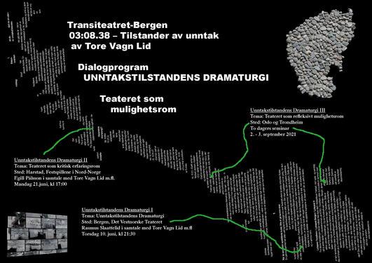 Kvit tekst på svart bakgrunn, teksten omhandlar tre dialogprogram.  Nokre grøne piler viser på eit Noregskart samansett av ord kor dei ulike samtalane finn stad