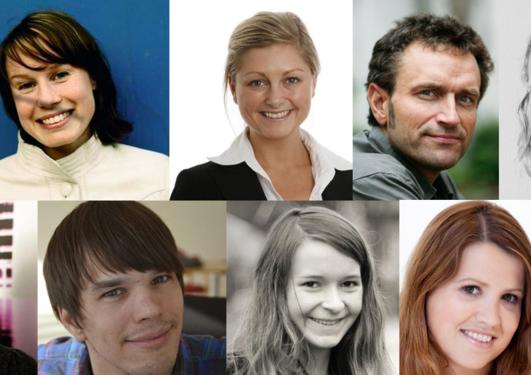 Collage av portretter av tidligere studenter ved Det samfunnsvitenskapelige fakultet