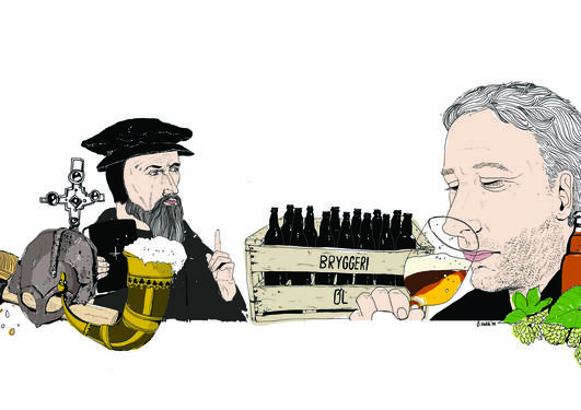 Illustration showing beer brewing and drinking traditions in Norway in a historical perspective as part of an article about how old beer brewing traditions are being embraced by new generations.