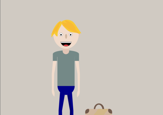 Animert figur av en smilende blond gutt med koffert