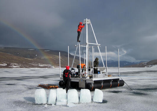 Coring on ice in polar Ural