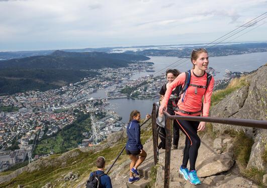 Students hiking on Mount Ulriken