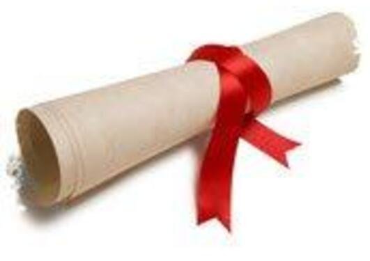 Et vitnemål rullet sammen, med et rødt bånd rundt.