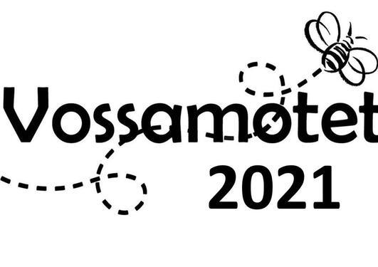 Logo med teksten Vossamøtet 2021 og ei bie som surrar
