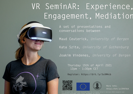 Photo of young blonde woman with a VR headset. Text describing event surrounds the photo.