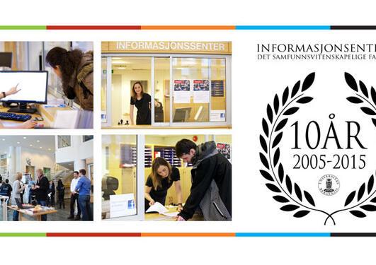 Bildekollage av studenter som benytter informasjonsssenteret