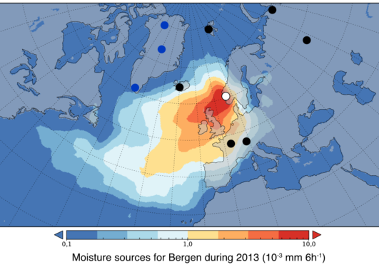 Moisture sources for precipitation in Bergen in 2013
