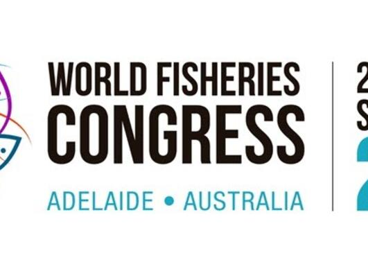 A figure with fishes in different colours forming a circle around a globe, and the text World Fisheries Congress Adelaide Australia 20-24 September 2021