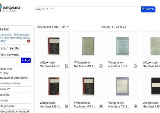 Et bilde av hvordan Wittgenstein Nachlass fremstår på Europeana