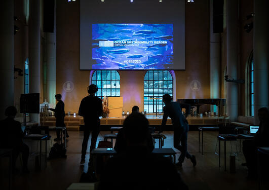 Photo from the 2020 Ocean Sustainability Bergen Conference, broadcast live from the University Aula in Bergen.