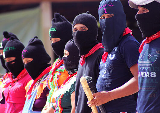 Depicted is the Zapatista movement in Mexico.
