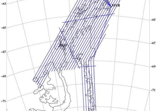 Linjene i det planlagte flyprogrammet over Den Antarktiske Halvøya.