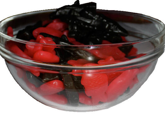 A bowl of candy fish