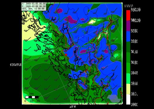 Nedbør fra små-skala værvarslingsmodell for Bergensområdet