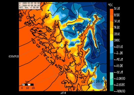 Temperatur fra finskala værvarslingsmodell for Bergensområdet
