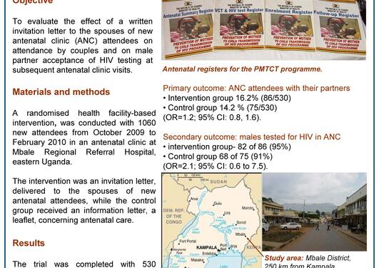 Poster: A letter to the male partner increases antenatal attendance and HIV...