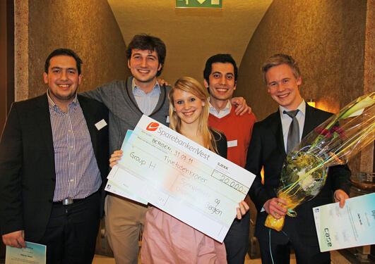 Vinnerlaget for Schibsted-casen. Fra venstre: Joachim Bacha, Luca Grandi, Pia...